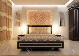 interior design of big modern bedroom in artificial lighting