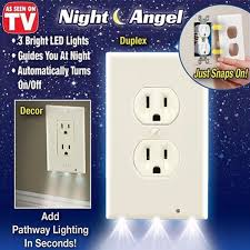 pro duplex night angel light sensor led plug cover wall outlet