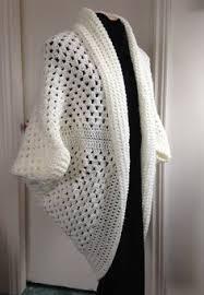 Cocoon Sweater Cardigan Crochet Granny Square Cocoon Sweater Cardigan Shrug In White