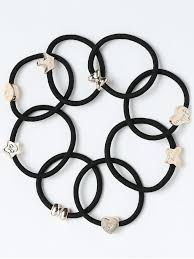 elastic hair bands heart roundness embellished elastic hair bands set black hair