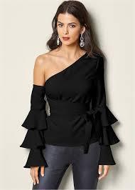 the shoulder black blouse ruffle the shoulder top in black venus