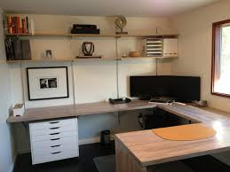 small modern home office design with floating butcher block