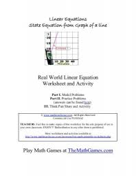 real world linear equation worksheet and activity math warehouse
