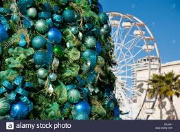 christmas tree with baubles at the pike long beach california