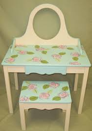 Girls Vanity Table And Stool Furniture White And Blue Roses Painted Vanitiy Table With