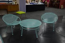 Vintage Woodard Patio Furniture - powder coated in blue pair of salterini