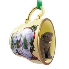 chocolate lab teacup ornament figurine