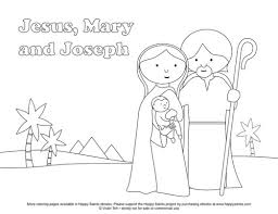 happy saints free coloring page the holy jesus mary and 523591