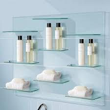 decorating cool floating glass shelves for bathroom ideas wall