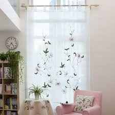Sheer Embroidered Curtains Fixed Panel Embroidered Floral Curtains White Sheer Curtains