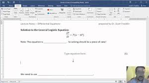 how to insert equations numbers in word 2016