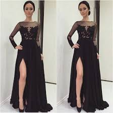 winter formal 2015 elegant long sleeve evening dresses applique