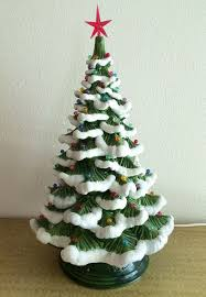 vintage ceramic christmas tree 1970s vintage ceramic snow flocked light up christmas tree l