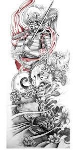 3d japanese hannya head with flower tattoo on right half sleeve