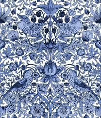 william morris strawberry thief blue and white wallpaper