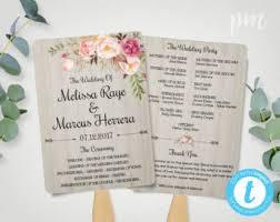 rustic wedding program fan template fan wedding program