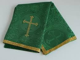 chalice veil chalice veil green with cross embroidery spiritus dei religious