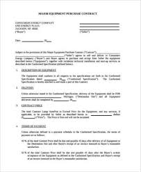 sample equipment contract forms 7 free documents in pdf