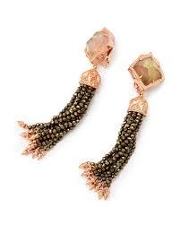 earrings clip on misha gold clip on tassel earrings in brown kendra