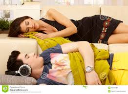 Young Couple Room by Young Couple Sleeping In Living Room Stock Photo Image 42323489