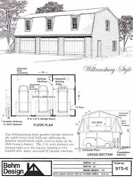 colonial style gambrel 3 car garage plan with loft 975 6 by behm