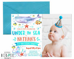whale and dolphin birthday party invitation under the sea pool