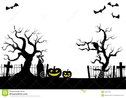 pumpkins in a full moon night at cemetery stock photo image