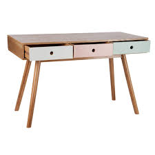 bureau retro bureau 3 tiroirs vintage bois pastel 61992 achat vente bureau