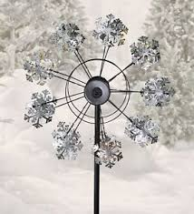 wind spinners with led lights solar snowflake wind spinner w led lights metallic finish ebay
