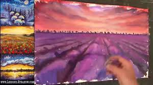 how to paint a landscape lavender field at sunset youtube