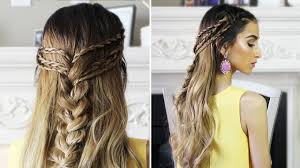 show me some hairstyles half up half down boho hairstyle youtube