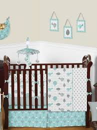 Turquoise Crib Bedding Set Turquoise And Gray Nature Triangle Baby Bedding 9 Pc Crib Set By