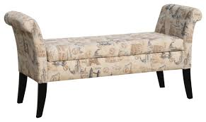avignon towers patterned french laundry fabric storage bench