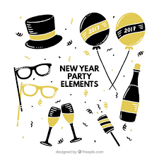 new year items variety of golden and black items ready for new year vector free