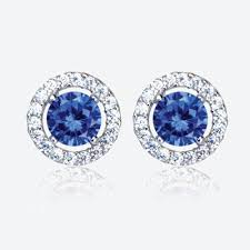 warren stud earrings the amelia sterling silver tanzanite coloured diamonflash cubic