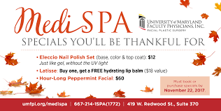 medi spa specials available for thanksgiving week the elm