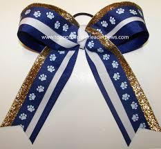 paw print ribbon paw print cheer bow royal white big cheer bow