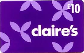 claires gift card gift card flowers white text on purple background s