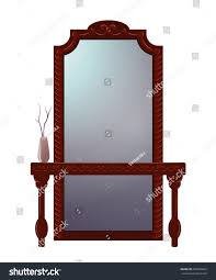antique dressing table mirror carved wooden stock vector 648935605