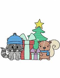 raccoon and squirrel christmas sketch embroidery design raccoon