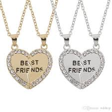 best friend heart necklace images Wholesale gold silver two tones available bff best friend heart jpg