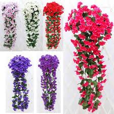 Cheap Fake Flowers Artificial Violet Hanging Garland Vine Flower Fake Silk Flowers