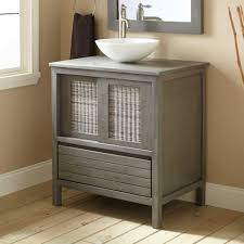 Mission Style Bath Vanity Bathroom Furniture Natural Wood Chrome Wall Mounted Glass Shaker