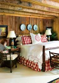 rustic country style bedroom with gingham white bedding and wall
