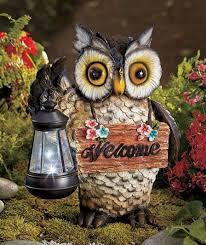 Solar Garden Ornaments Outdoor Decor Solar Owl Lantern Welcome Statue Garden Patio Decor Garden Decor