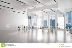 office interior design in whire color and rays of light from