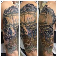 outside of shipwrecked half sleeve completed done by the