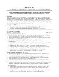 Resume For Pharmacist Job Pharmaceutical Sales Sample Resume Free Resume Example And