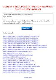 massey ferguson mf 1432 mower parts manual 653623m91 pdf by david