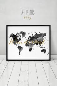 Map Guest Wanderlust World Map Watercolor Print World Map Poster